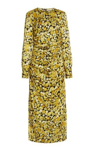 Draped Floral Stretch-Silk Midi Dress