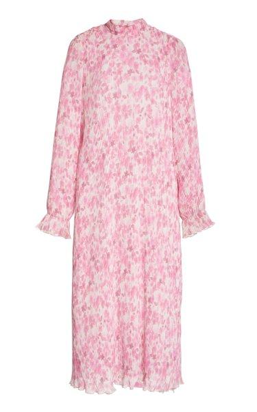 Printed Pleated Georgette Midi Dress