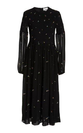 Printed Sheer-Sleeve Georgette Midi Dress
