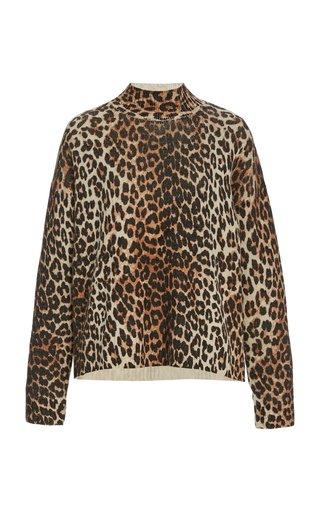 Leopard-Print Wool-Blend Sweater