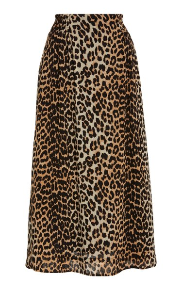Leopard-Print Georgette Midi Skirt