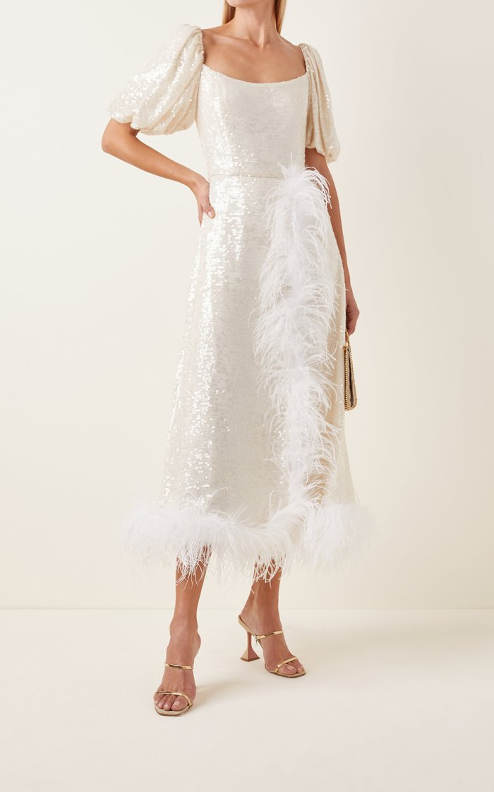 Feather-Trimmed Sequined Midi Dress