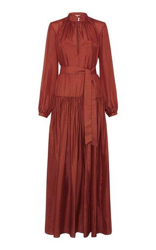 Allegra Tie-Detailed Cotton-Blend Maxi Dress
