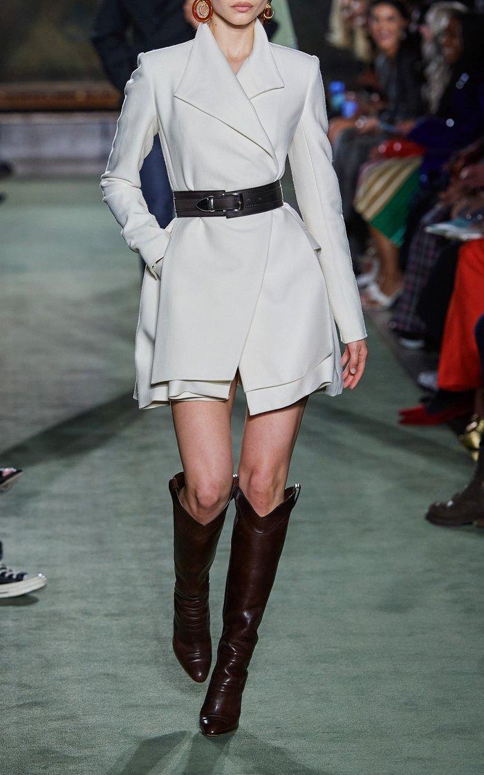 Layered Wool-Silk Mini Blazer Dress