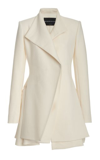 Layered Wool-Silk Mini Blazer Dress