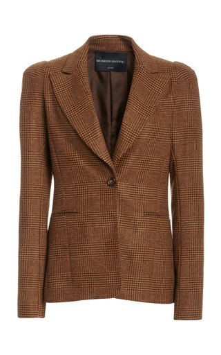 Puff-Sleeve Plaid Wool Blazer