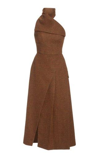 Plaid Wool Midi Halter Dress