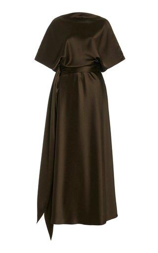 Draped Silk Maxi Dress