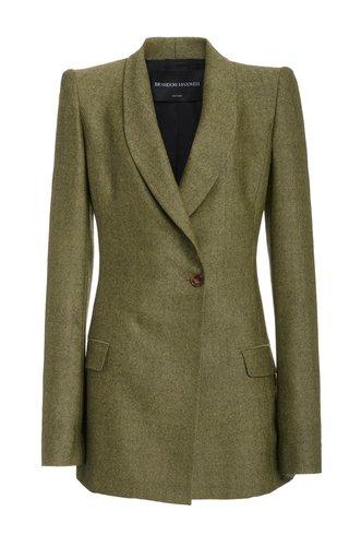 Puff-Sleeve Herringbone Wool Blazer