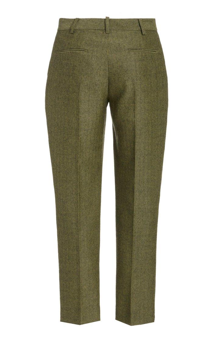 Classic Straight-Leg Wool Cropped Pants