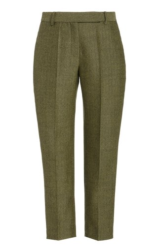 Classic Straight-Leg Wool Cropped Pants