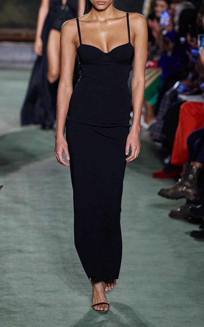Compact-Knit Bustier Midi Dress