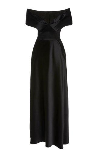 Off-The-Shoulder Silk Maxi Dress