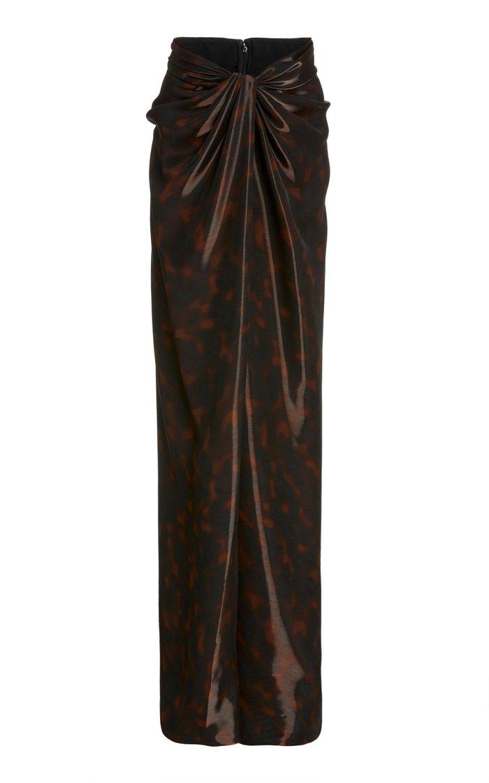Liquid Tortoiseshell Wrap-Effect Maxi Skirt