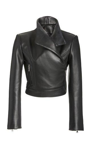 Cropped Leather Moto Jacket