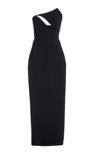 Strapless Cutout Wool Gown