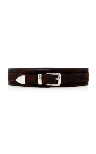 Tortoiseshell-Printed Leather Waist Belt