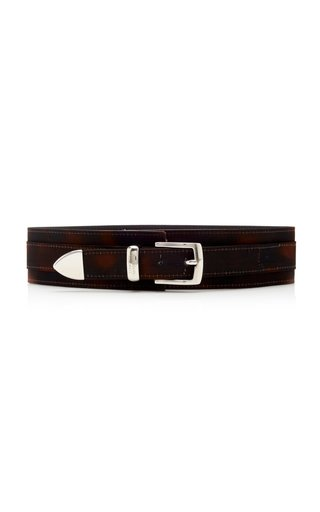Tortoiseshell-Printed Leather Waist Belt