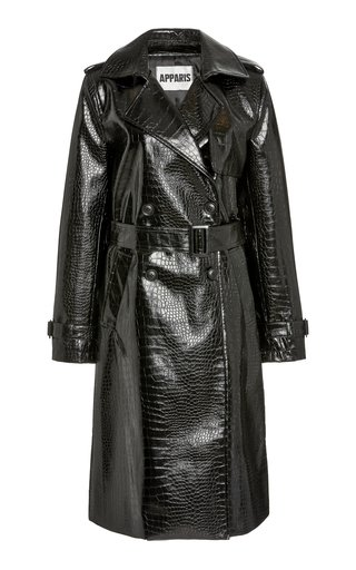 Danny Croc-Effect Faux Leather Trench Coat