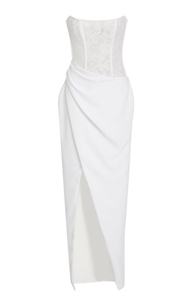 Exclusive Strapless Chantilly Lace Midi Dress