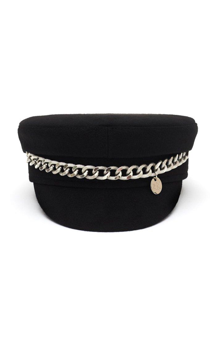 Chain-Embellished Wool Baker Boy Cap