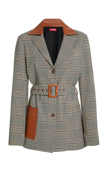 Paprika Plaid Belted Crepe Jacket
