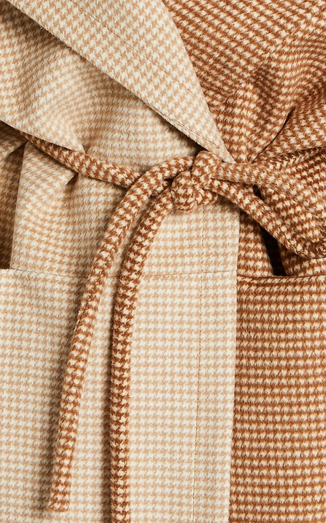 Chiba Two-Tone Houndstooth Knit Coat