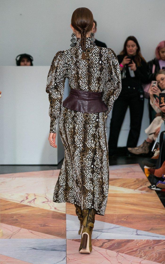 Nina Printed Crepe Midi Skirt