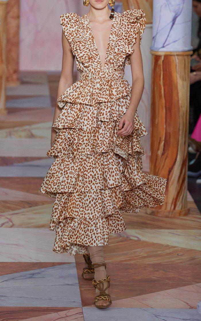 Viola Asymmetric Tiered Silk Dress