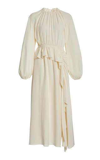 Odette Ruffled Crepe De Chine Dress