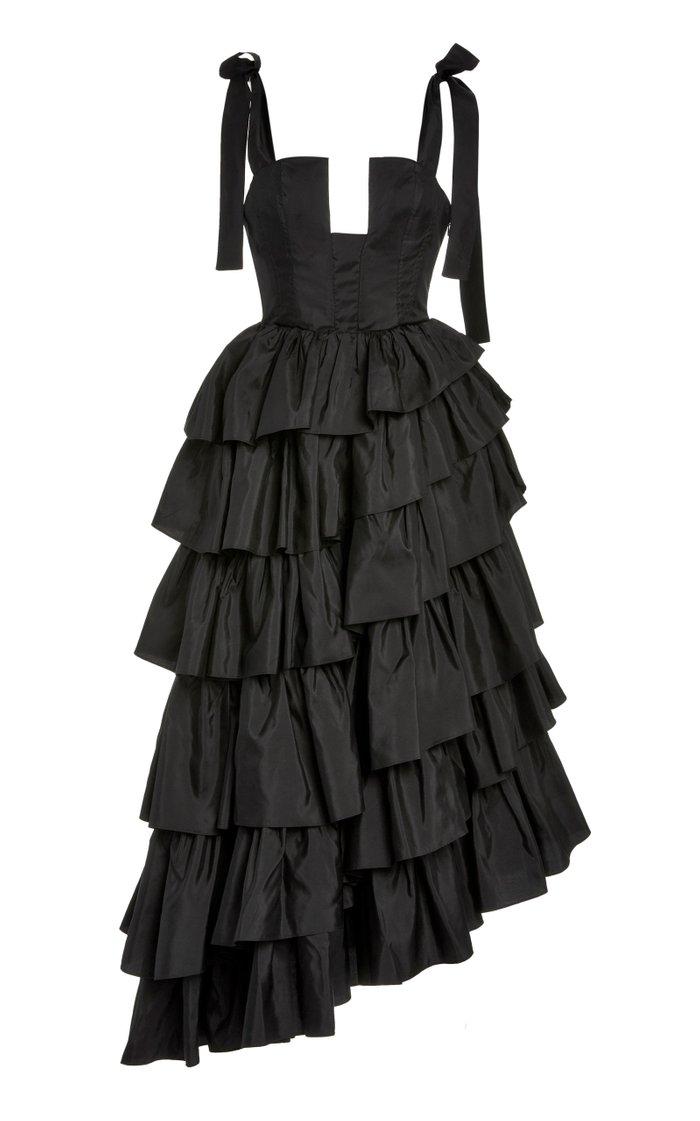 Valentina Tiered Ruffle Satin Gown