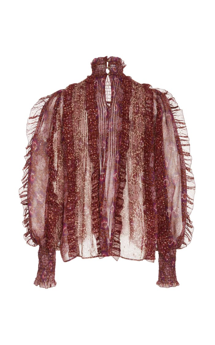Elita Frilled Silk-Blend Blouse