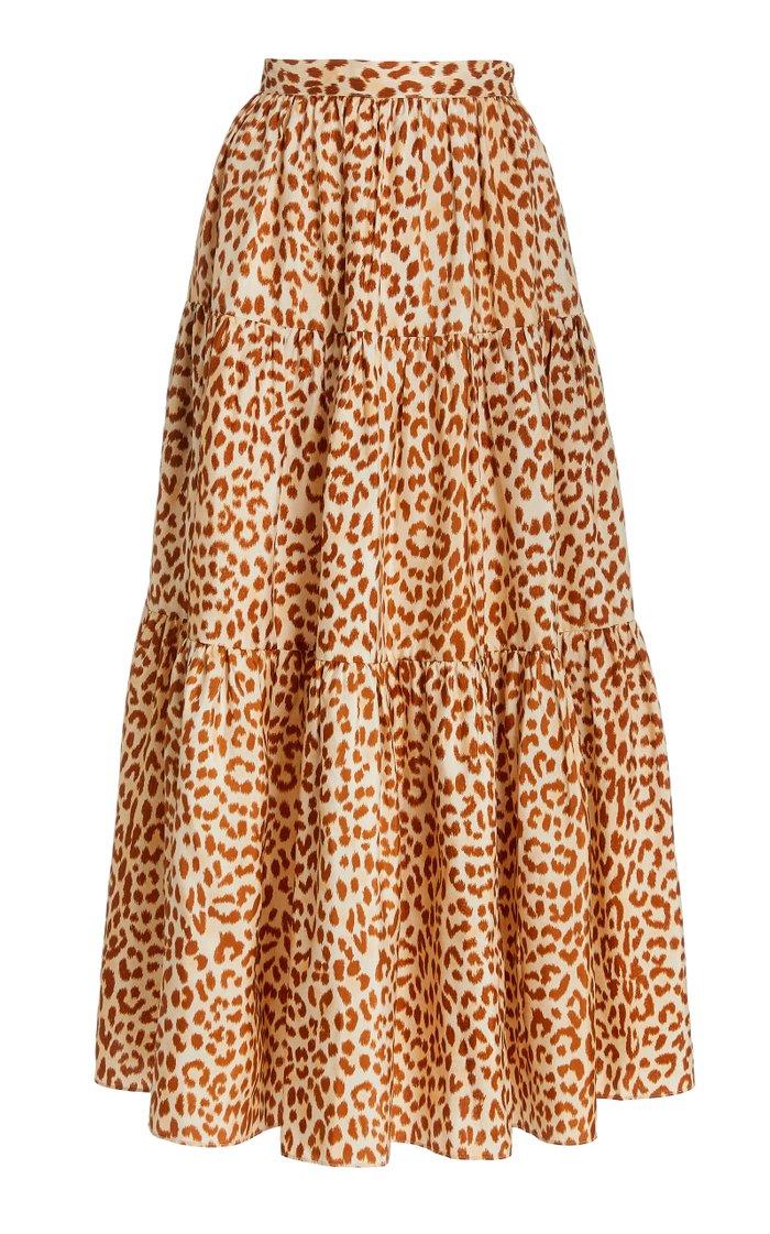 Chantal Printed Silk Taffeta Midi Skirt
