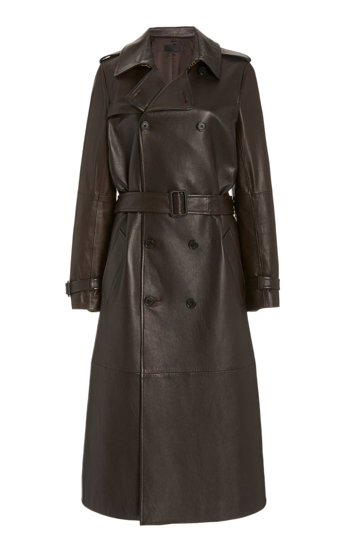 Alexander Leather Double-Breasted Trench Coat