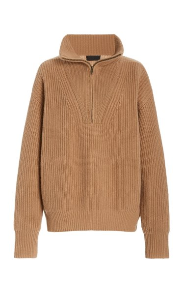 Hester Ribbed-Knit Cashmere Half-Zip Sweater