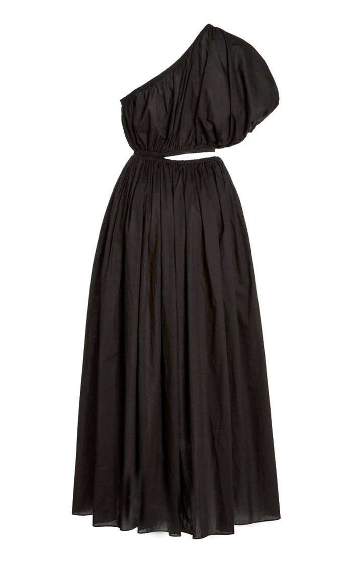 Cocoon Cotton Voile One-Shoulder Maxi Dress