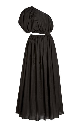 Cocoon Cotton Voile One-Shoulder Maxi Dress