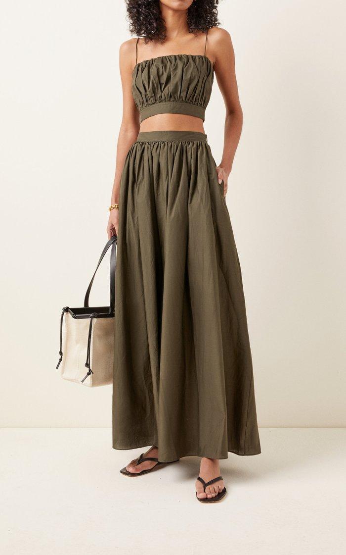 Gathered Cotton Poplin Maxi Skirt