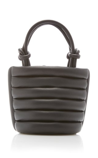Louie Striped Padded Leather Top Handle Bag