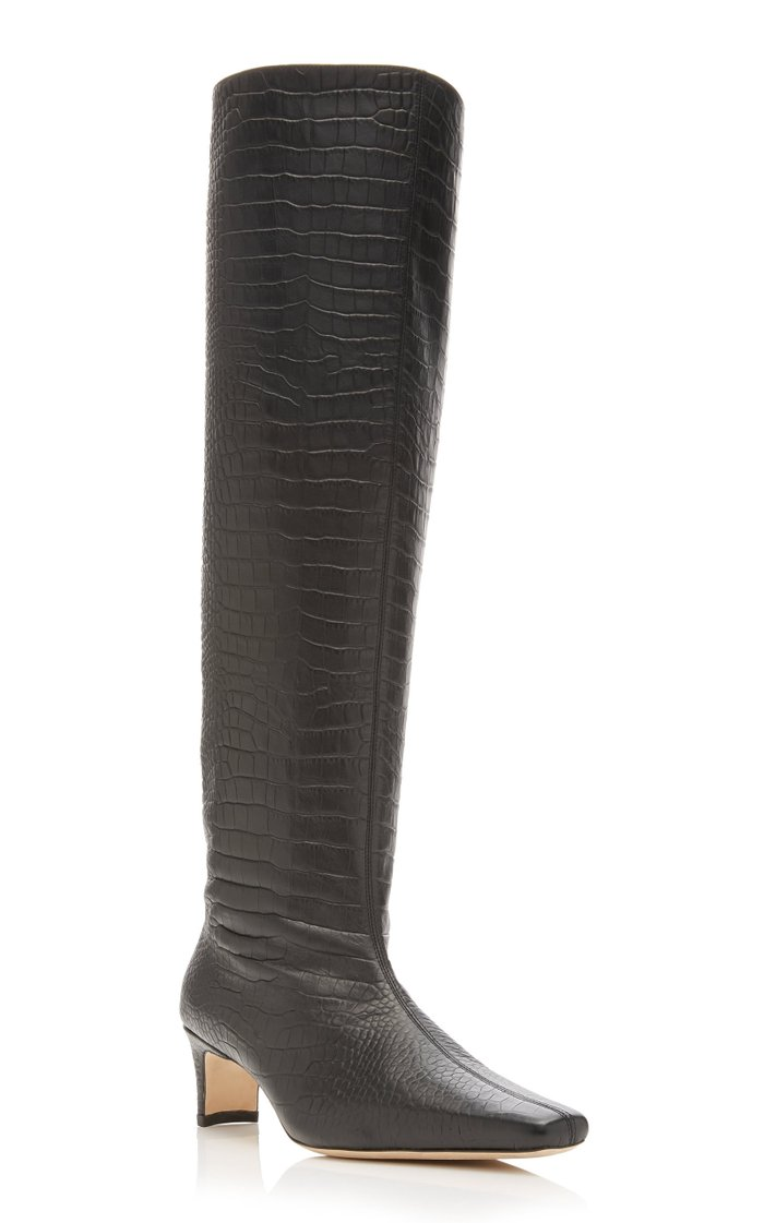 Wally Croc-Embossed Leather Knee-High Boots