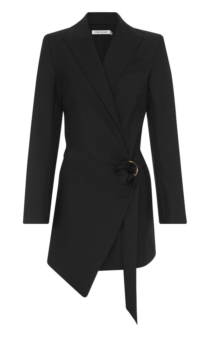 Valentina Draped Wool Mini Blazer Dress