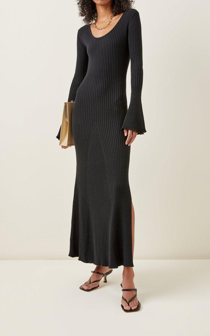 Mara Fluted Sleeve Cotton Midi Dress