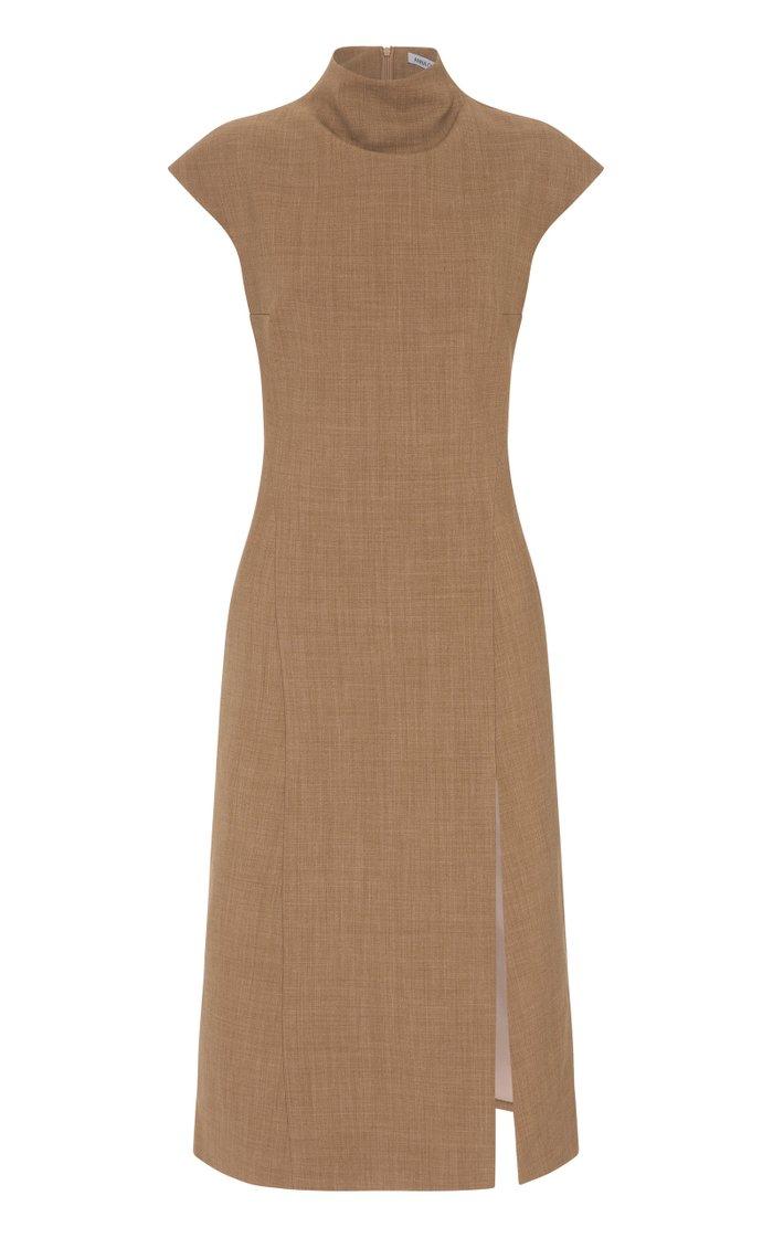 Reina Wool-Blend Slit Dress