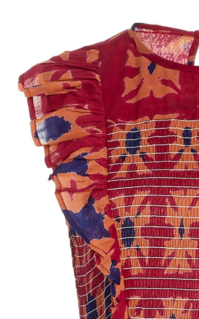 Iris Smocked Printed Cotton Midi Dress