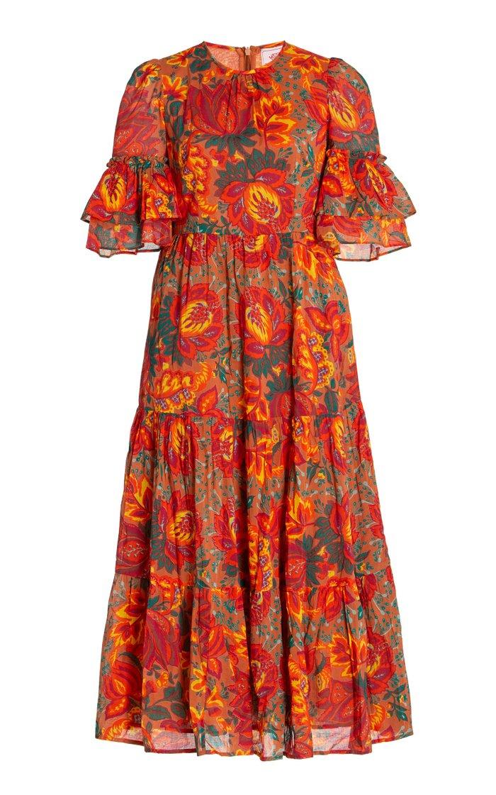Mercy Printed Cotton Wrap Dress