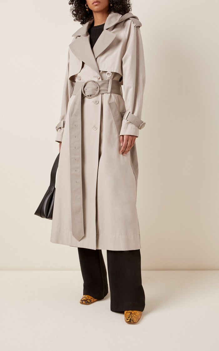 Two-Tone Cotton-Blend Trench Coat