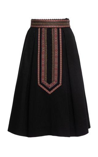 Althea Ribbon-Detailed A-Line Midi Skirt