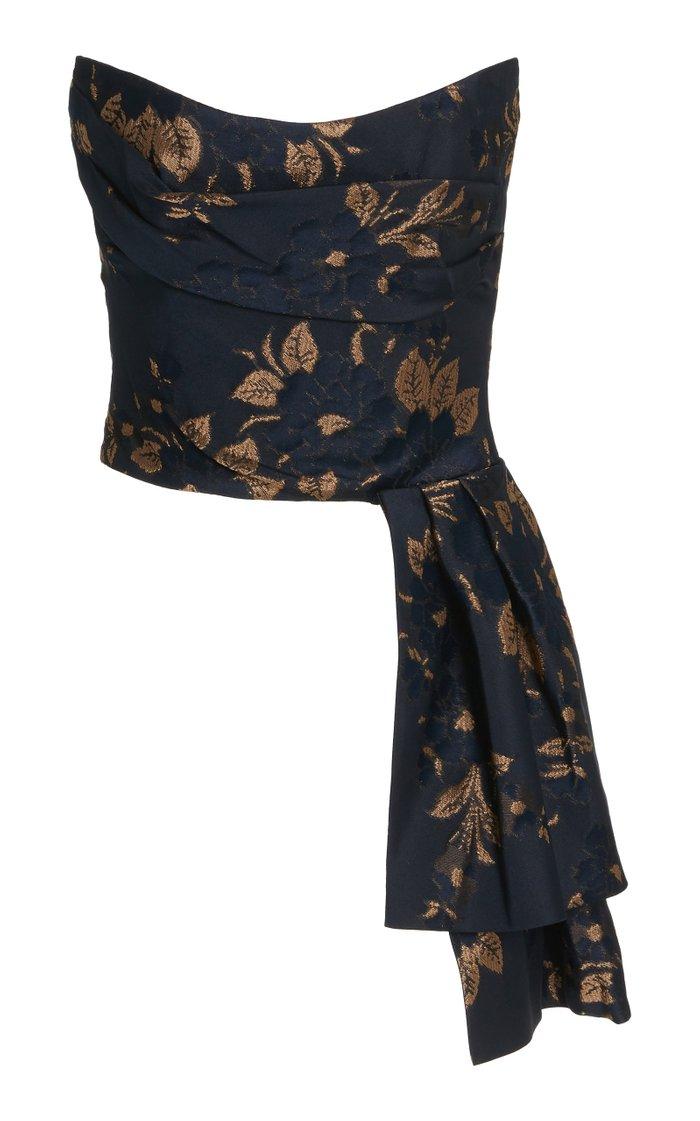 Pavlova Paisley-Jacquard Two-Piece Strapless Gown