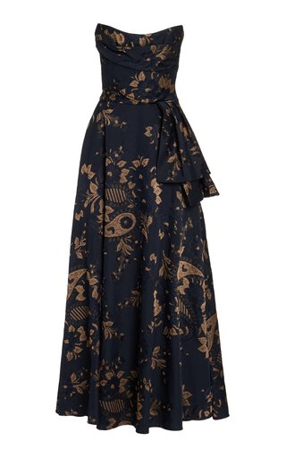 Pavlova Paisley-Jacquard Two-Piece Strapless Gown