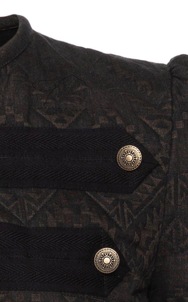 Folklore Ribbon-Detailed Cotton Jacquard Military Jacket